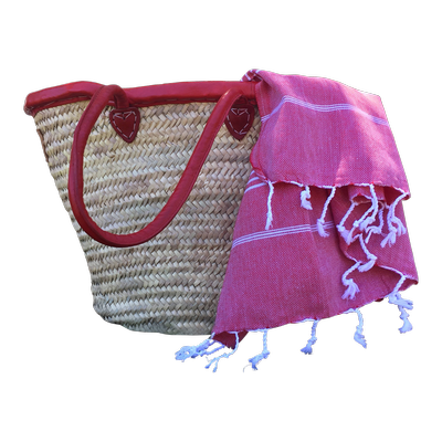 BUNDLE: Basket & Turkish Towel (Red)