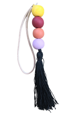 Beaded Tassel | Black & Yellow