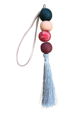 Beaded Tassel | Silver & Red